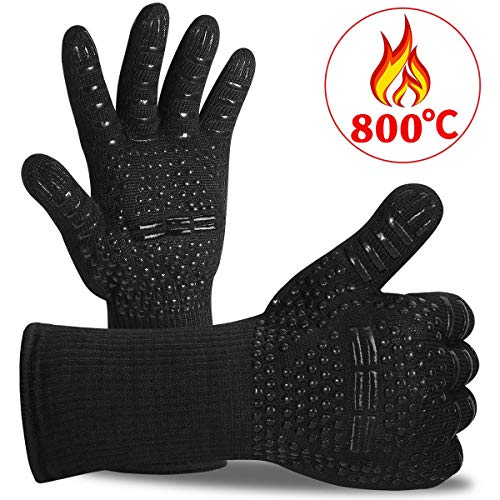 Ankier BBQ Gloves, 1472 ℉ Extreme Heat Resistant Grilling Gloves - Up to 800 ℃ Oven Gloves Set for BBQ, Grill, Cooking, Baking, Kitchen, Welding (Black, 1 Pair)