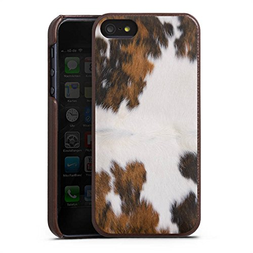 Apple iPhone SE Lederhülle Leder Case Leder Handyhülle Kuh Fell Kuh Look Leder Case braun
