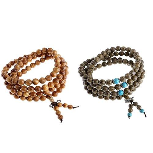 2pcs 11 mm bois noir bracelet tibétain perles bouddhiste prière Mala pour homme pour femme