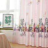 Horizontal Blinds Rosa Vorhang Cartoons,Weiß, süß Prinzessin Wind Mädchenkinder Zimmer Vorhänge Cute Blackout Partition Maß Bay-Fenster Landung Fenster-Rosa 350x270cm(138x106inch)
