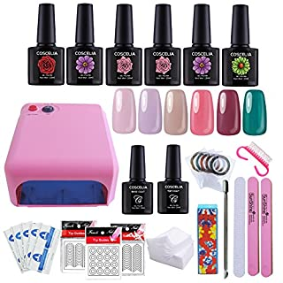 Coscelia 36W Pink UV Nail Lamp Dryer Nail polish Set and Nail Brush and Nail Art Design Tools Nail Salon Set