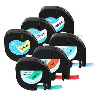 TuToy Lt 91201/91200/12267 Label Tape Compatible Pour Dymo Letratag 12Mmx4M Cassette - Pâle