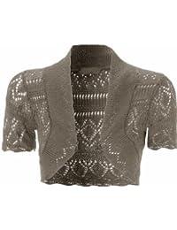 Chocolat Pickle® Nouveau Femme Crochet Knit poissons net Bolero Love Tops 8–20