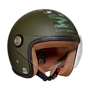 Royal Enfield Battle Green Open Face with Visor Helmet Size (M)58 CM (RRGHEI000060)