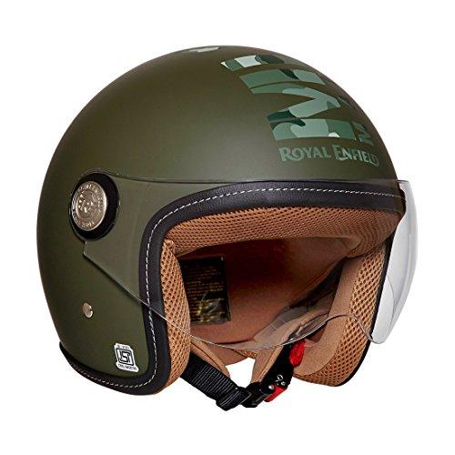 Royal Enfield RRGHEI000061 HES16014 Open Face Helmet (Battle Green, L)