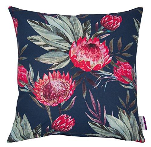Tom tailor t di king protea fodera per cuscino, cotone, blu scuro/rosa, 45x 45x 0.05cm