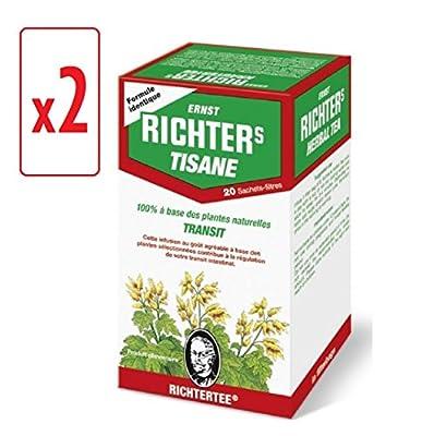 [Top minceur !] Lot de 2 boîtes de Tisane infusion Ernst Richter 40g - 100% à base de plantes naturelles / Régulation du transit / Spécial Minceur / 2 x 20 sachets filtres de 2g