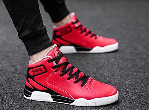 Scarpe Uomo Scarpe Basket High-top Scarpe Skateboard Stringate Scarpa Casual Rosso