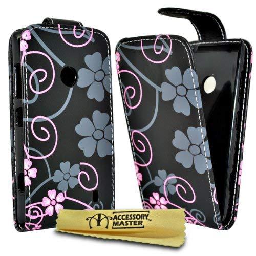 Accessory Master Coque en Cuir pour Nokia Lumia 520 Motif Fleur Noir/Rose