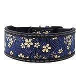 Pssopp Hundehalsband aus Nylon verstellbares Nylonhalsband Bequemes Sicherheitshalsband mit reflektierender Schnalle für mittelgroße und große Hunde(M-Marineblau)