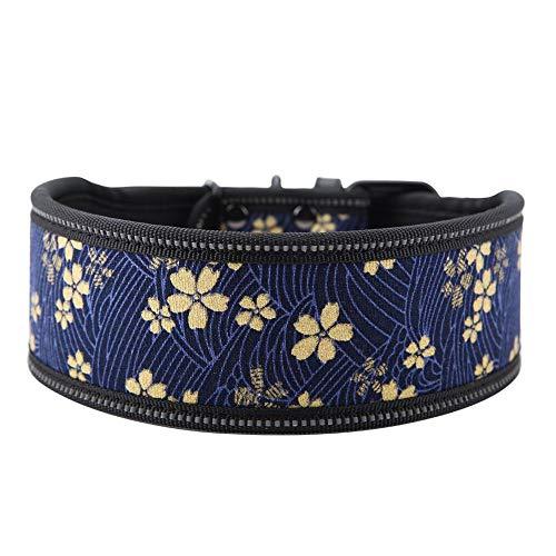 Pssopp Hundehalsband aus Nylon verstellbares Nylonhalsband Bequemes Sicherheitshalsband mit reflektierender Schnalle für mittelgroße und große Hunde(S-Marineblau)