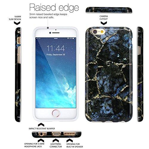 Coque iPhone 6, Coque iPhone 6S, JIAXIUFEN Silicone TPU Étui Housse Souple Antichoc Protecteur Cover Case - Noir Marbre Désign Noir Pierre