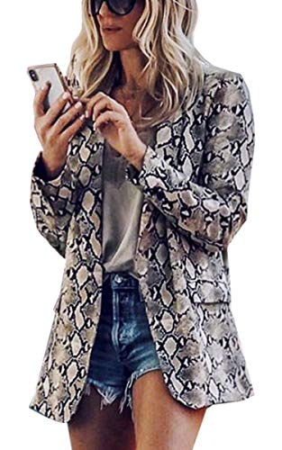 Angashion Damen Herbst und Winter Mode Schlange Und Leoparden Drucken Revers Anzüge Mantel -Parka - ()