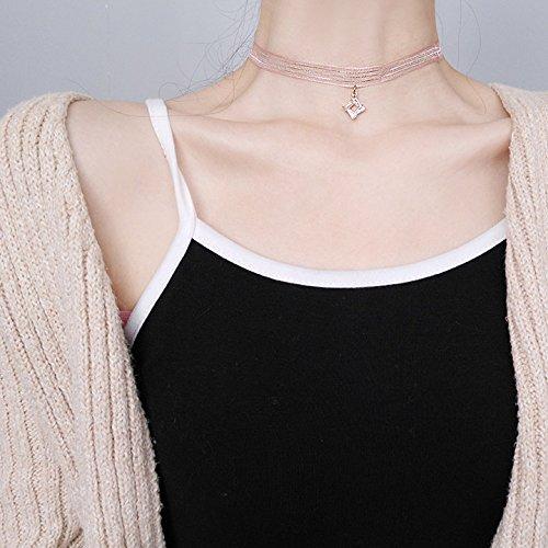 Meteoriten Parfüm (WTTCD Damen Halskette Damen Halskette Anhänger 925 Band Weiblichen Stoff Zirkon Anhänger Schlüsselbein Kette Kragen, Quadratischer Meteorit H2863)