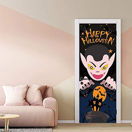 ber halloween poster tapete stereo home hintergrund schlafzimmer tür dekoration selbstklebende pvc selbstklebende stereo er 77x200 cm ()