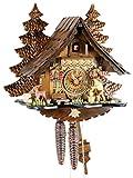 Orologio a cucù originale nero foreste Cuculo Orologio meccanico in vero legno 1giorno unità nuovo Certificato VDS Eble-Legno Hacker 32cm 22303