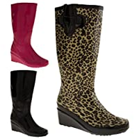 Footwear Studio Womens Wedge Heel Wellington Boots