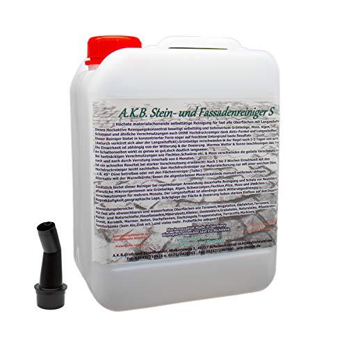 A.K.B. Stein- und Fassadenreiniger S Konzentrat, 3365 (bei farbiges auf Farbechtheit prüfen!),(5 Liter(bis3000m²), Dachreiniger, Grünbelagentferner, moosentferner, Steinreiniger -