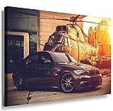 BMW Schwarz Hubschrauber Leinwandbild / LaraArt Bilder / Leinwand Bild + Mehrfarbig + Kunstdruck a07-3 Wandbild 70 x 50 cm