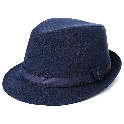 Kostüm Hut Blauen - Herren Trilby Hut 1920/1950S Styler Jazz Fedora Hut 58-60 cm Blau