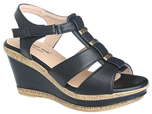 Cushion Walk Sandales d'été pour femme, doublure cuir - Chaussures larges ouvertes à lanières et semelles compensées - Pointure 35,5-42 A04 Black