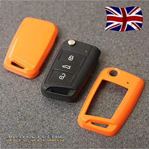 Weißes Schlüsselgehäuse für VW, Seat, Skoda, 3-Tasten-Fernbedienung, Schlüsselanhänger,Golf Polo Beetle Touran Scirocco Passat Leon 5F SC ST Ibiza Octavia Rapid Octavia 201320142015201620172018 Orange