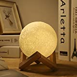 Greenclik LED Lunar Moon Night Light Lamp, 3D Luna Lamp Smart Touch Control Moon Lantern Rechargeable Home Decorative Hanging Light With Wood Holder