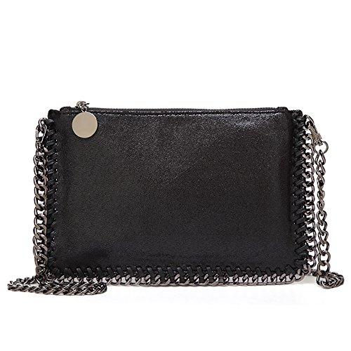 Angleliu Damen PU lässigen Kette Handtasche Modisch Schultertaschen Glitzer Beuteltasche (Kleines Paket schwarz)