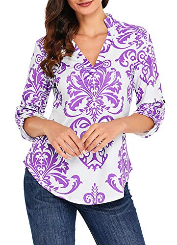 asual Shirts Frauen Druck Muster Bluse Tops (Lila, M/EU 40-42) ()