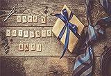YongFoto 1,5x1m Polyester Foto Hintergrund Alles Gute Gestreifter Gürtel mit Krawatte Rasierer Rasierer Holzbrett Fotografie Hintergrund Backdrop Fotostudio Hintergründe Requisiten
