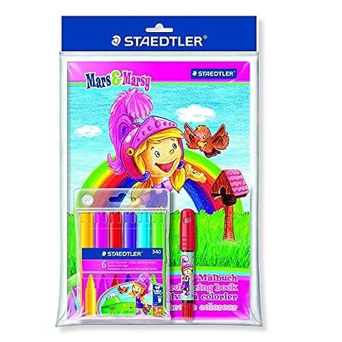 Staedtler - Noris Club 340 - Edition Mars & Marsy - Set 1 Pochette Plastique 6 Feutres Coloriage Gros Module + Livre Coloriage + 2390-2 Design Fille