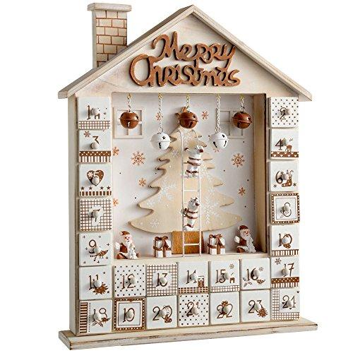 WeRChristmas Weihnachtsdekoration Advent Kalender Holzhaus, Natur/beige, 37cm