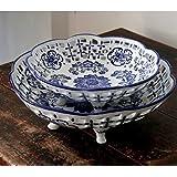 Tazones clásico calado cuadrado azul y blanco/ Frutero de cerámica decorados ornamentos-B