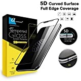 Ascension ® for Apple iPhone X/iPhone Xs Premium Series Matte 5D Tempered Glass Gorilla Screen Protector High Premium Quality 9H Hard 5D Ultra Clear (Black) (Set of 1)