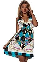 4360 Fashion4Young Damen Träger-Minikleid mit tiefem V-Ausschnitt Kleid verfüg.in 5 Farben Gr. 34/36