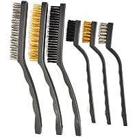 ATPWONZ 6 Mini Cepillo de Alambre Práctico Establecer Metal Pintura Limpiar Acero Inoxidable / Nylon / Cepillo de Latón
