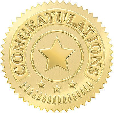 32 Congratulations Award Seal Stickers for Recognition Awards and Certificates (Gold) by Trend - Gold Seal Häuser