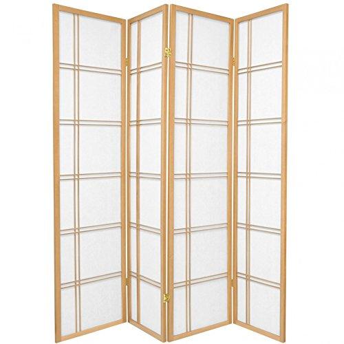 Fine asianliving - Raumteiler Paravent - Shoji Screen Raumteiler Paravent - japanischen Reispapier 4 Panel - natur Farbe - 112-514 (Shoji-4-panel-raumteiler)