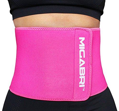 Migabri Taillen-Trimmer XT10 – Hochwertig, einstellbarer Gürtel zum Abnehmen, beschleunigt Gewichtsverlust und Bauchmuskeltraining – Untere Lendenwirbelstütze für Männer & Frauen (Regular, Rosa)