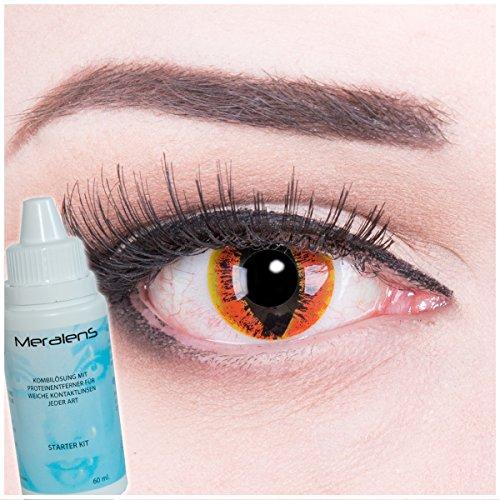Farbige rote orange braune Crazy Fun Kontaktlinsen crazy contact lenses Manticor 1 Paar perfekt zu Fasching und Halloween. Mit gratis Linsenbehälter + 60ml - Rote Katze Kostüm Kontaktlinsen