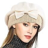Frauen Barette 100% Wolle Baskenmütze Kleid Mütze Wintermütze (Sahne)