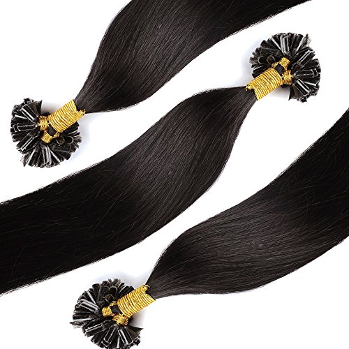 Extension capelli veri cheratina 100 ciocche - 40cm #1b nero naturale - 100% remy human hair pre bonded u tip nail hair capelli naturali lisci 0.5g/fascia