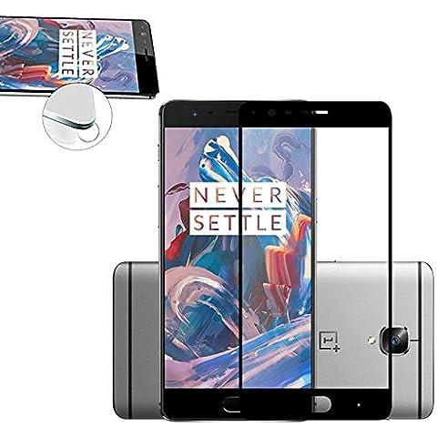 Protector de pantalla de vidrio templado FULL COVER para móvil One Plus 3 - Negro Tempered glass transparente Screen Protector OnePlus