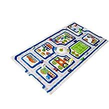 IVI hipoalergénica del niño alfombra y alfombra en un colorido diseño de ciudad con (80x 100cm, Pequeña, Azul)