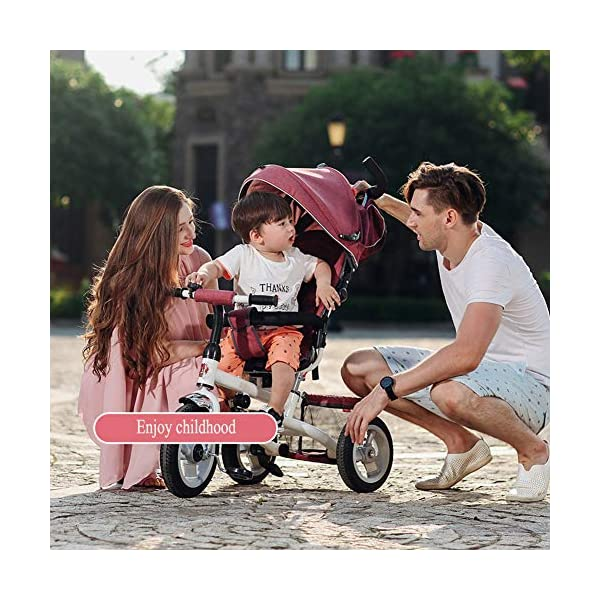 GSDZSY - Foldable Children Tricycle Baby Stroller 4 In1, With Removable Push Handle Bar And Awning, Non-inflatable Rubber Wheel,Safe And Reliable,1-6 Years,B GSDZSY  6