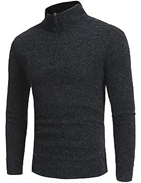 Autunno e Inverno uomini alta maglione a collo alto di colore solido zipper Felpa casual, grigio scuro, L.