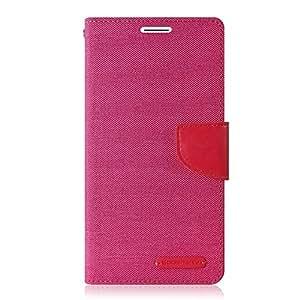 Goospery Canvas Mercury Fancy Diary Wallet Case for Samsung Galaxy E5 -Pink