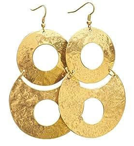 SouvNear Ottone Round ciondola gli orecchini per le donne / ragazze - Accessori di moda - Regali per lei