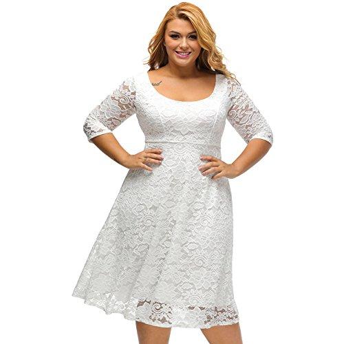 PU&PU Femmes Plus Size Sortir Formal / Travail / Partie élégante robe dentelle Swing, tour de cou à trois quarts manches haute taille , black , xxl