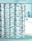 Duschvorhang Cool Fish weiß türkis 180cm breit x 200cm lang mit Ringe Vinyl